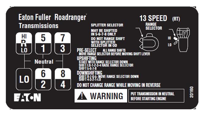 10 speed shift pattern for Eaton Fuller transmission