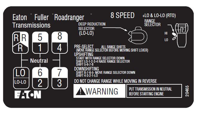 8 padrão de mudança de velocidade para transmissão Eaton Fuller