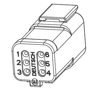 Eaton Terminal Side - Harness Connector Resolver Deutsch 6-pin connector