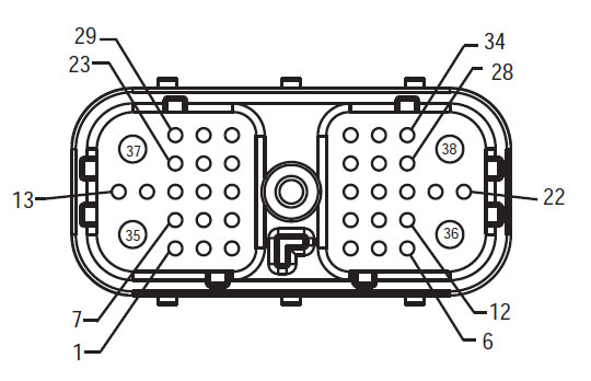 Harness Front View (HCM - Vehicle Interface Connector)