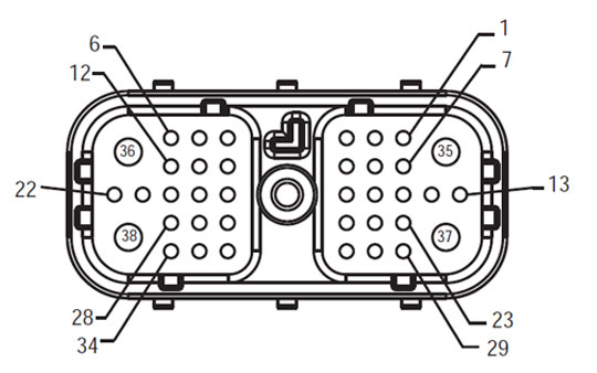 Fuller Harness Front View TECU - Vehicle Interface Connector