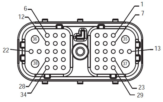 Harness Front View TECU - Vehicle Interface Connector