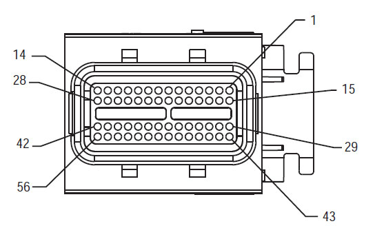 Delphi 56-Way Mating Connector View