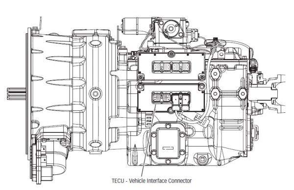 TECU - Vehicle Interface Connector Location on Eaton Fuller transmission
